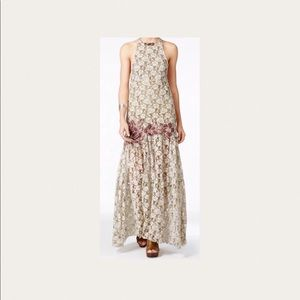 Free People Embroidered Lace maxi Dress XS